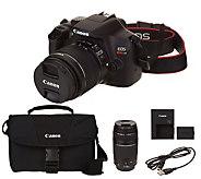 Canon Rebel T6 18MP DSLR Wi-Fi Camera with 18-55,75-300mm Lenses & Accs. - E231526