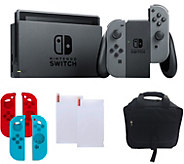 Nintendo Switch - Gray with Silicone Sleeves &Accessories - E291228
