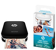 HP Sprocket Photo Printer w/ Photo Paper & Book - E294631
