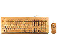 Impecca Full Bamboo Custom Carved Designer Keyboard and Mouse - E276032