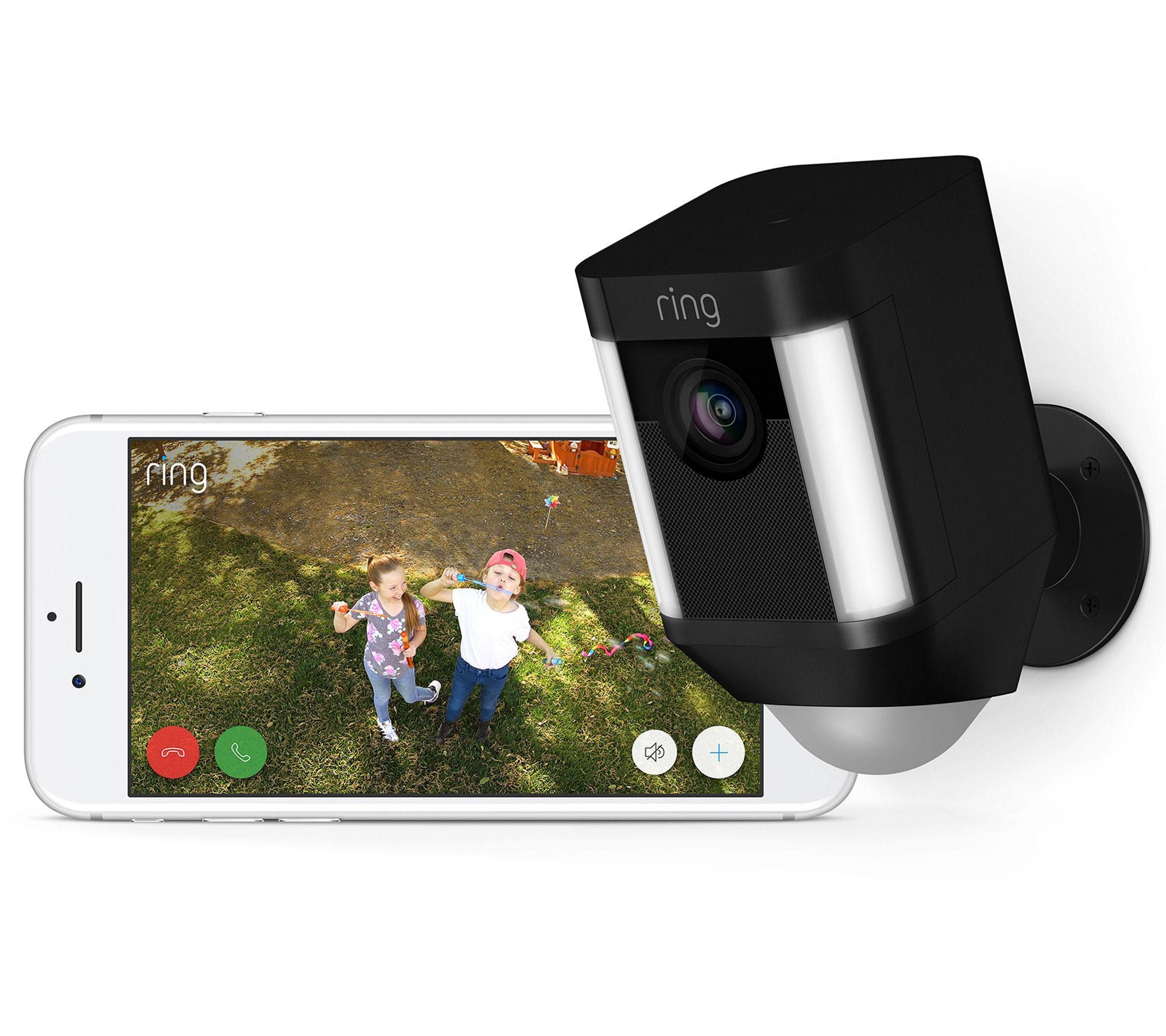 Ring Spotlight Wireless Camera Two-Way Talk Siren Alarm w/ Extra Battery —  QVC com