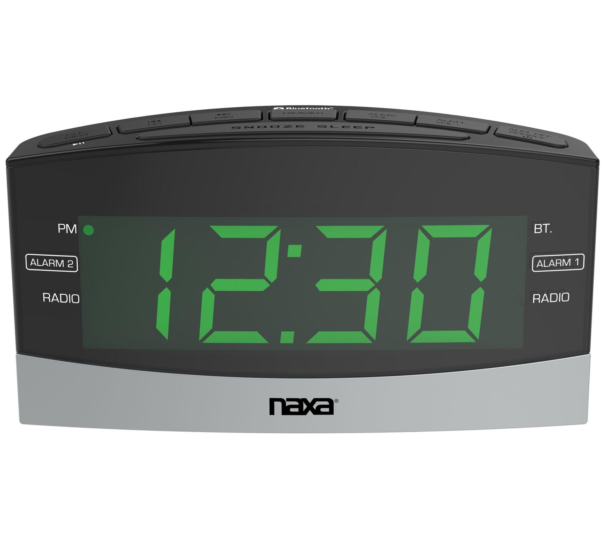 Naxa Bluetooth Dual Alarm Clock Radio w/ USBCharging — QVC com