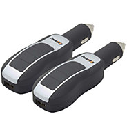 Impecca Set of Two USB Car Chargers with 3,000mAh Power Banks - E286542