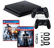 PS4 Slim 1TB Console w/ Uncharted, Battlefield 4 & Controllers - E295251