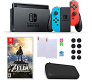 Nintendo Switch with Neon Joy-Con, Zelda & Accessories - E291454