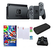 Nintendo Switch with Mario Tennis Aces and Accessories - Gray - E295356