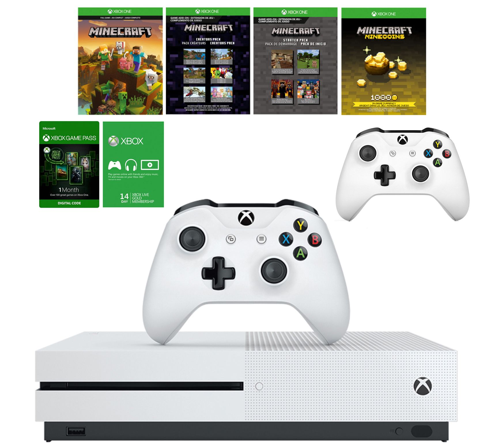 Xbox One S 1TB Minecraft & 30 Day Game Pass w/Two Controllers — QVC com