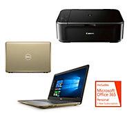 Dell 15 Laptop AMD A9 8GB RAM 1TB HDD w/ MS Office & Canon Printer - E231857