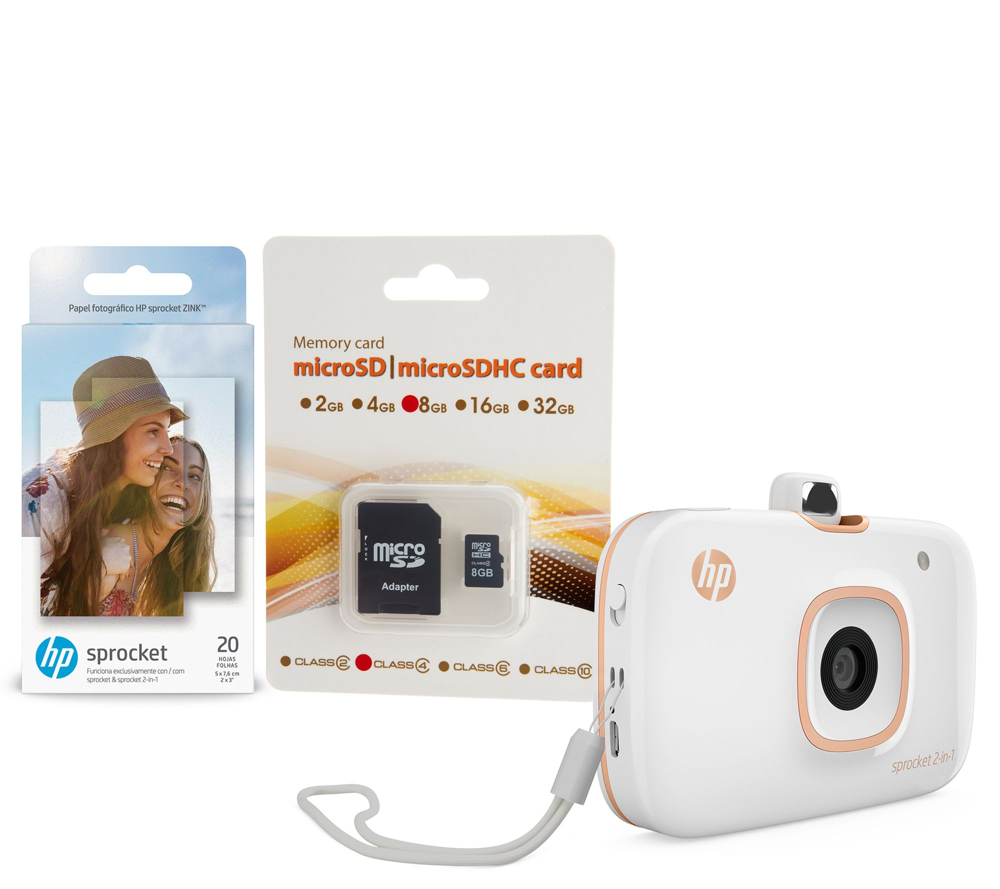 Hp Sprocket 2 In 1 Portable Photo Printer Camera W 8gb Sd Card