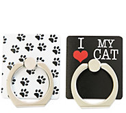 Set of (2) Pet iRing Wearable Adhesive PhoneStand & Mount - E292690