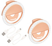 iSelfie by iRing Set of Two Clip-on LEDPhone Lights - E294791
