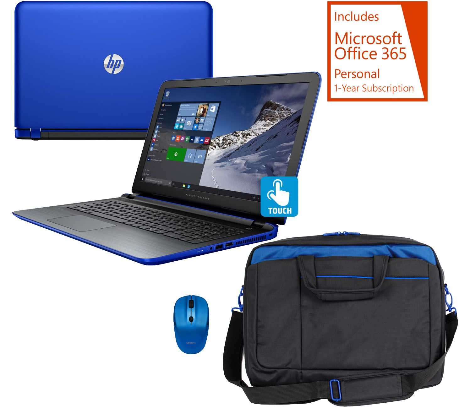 HP 15 Pavilion Touch Laptop AMD A10 8GB 1TB BagMouse Tech MSOffice