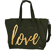 Lug Quilted Travel Tote with Embroidery - Aerial - F12801