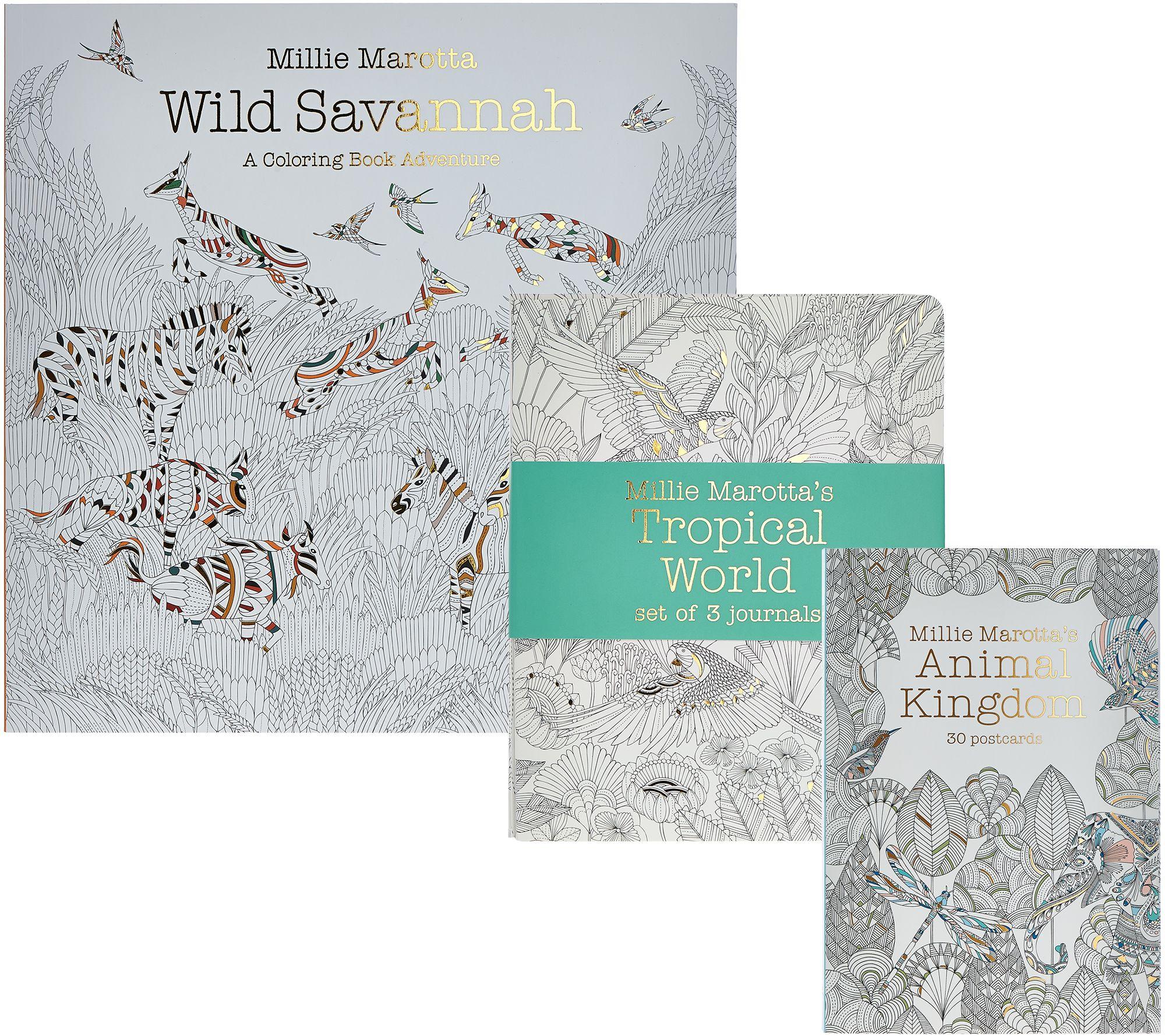 Millie Marotta Wild Savannah Adult Coloring Books Journal Set