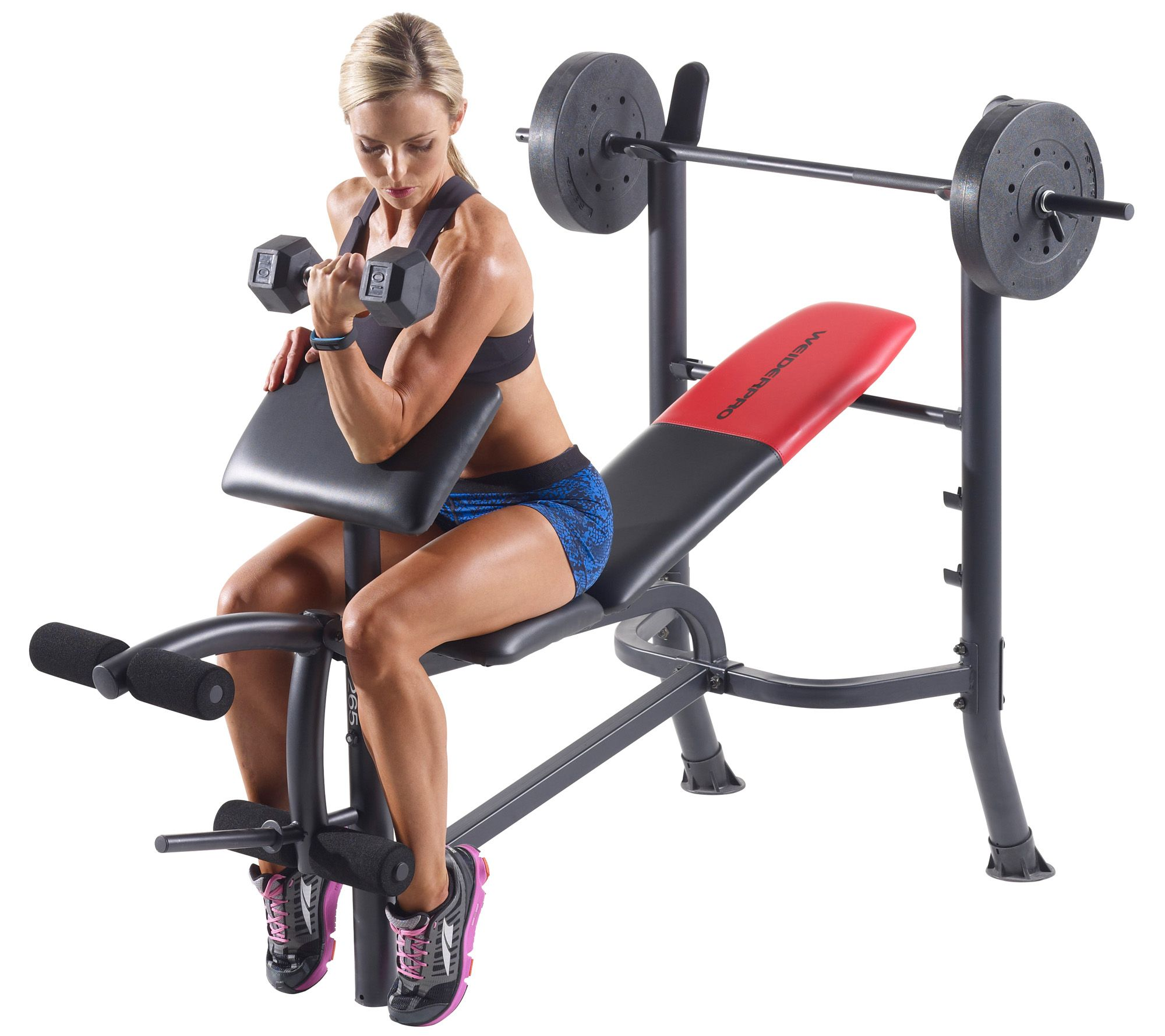 Weider Pro 265 Standard Bench Bar And Weightset Page 1 Qvc Com