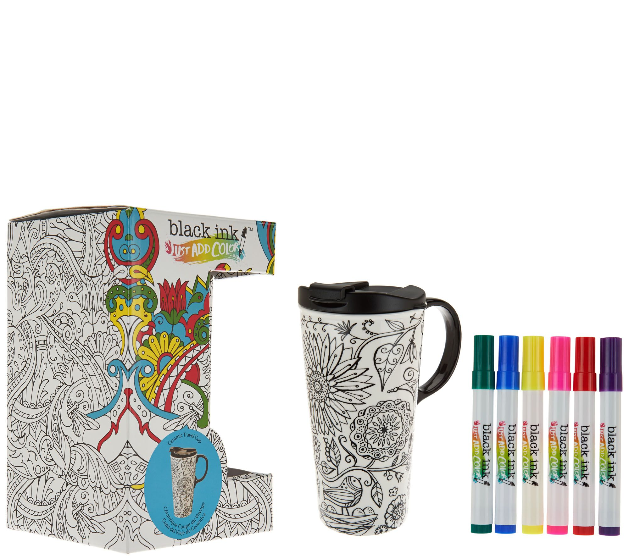 color your own 17 oz ceramic travel mug w markers gift box