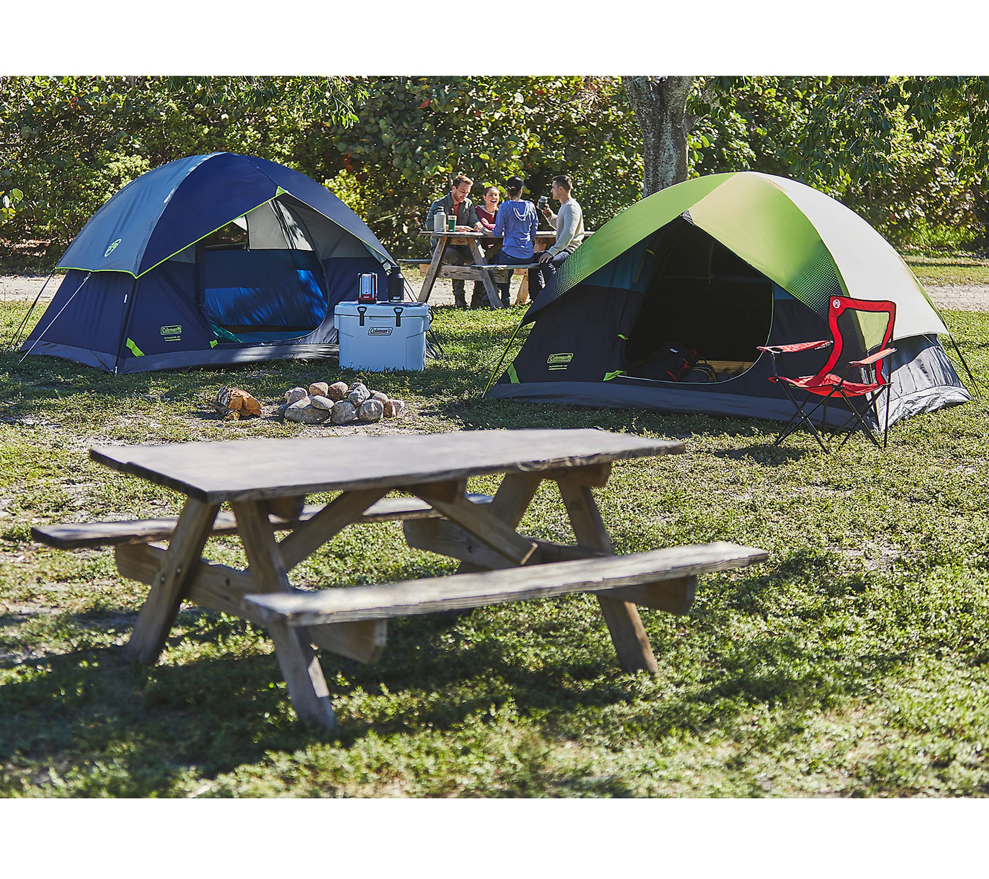Coleman 4-Person Instant Dark Room Sundome Camping Tent ...