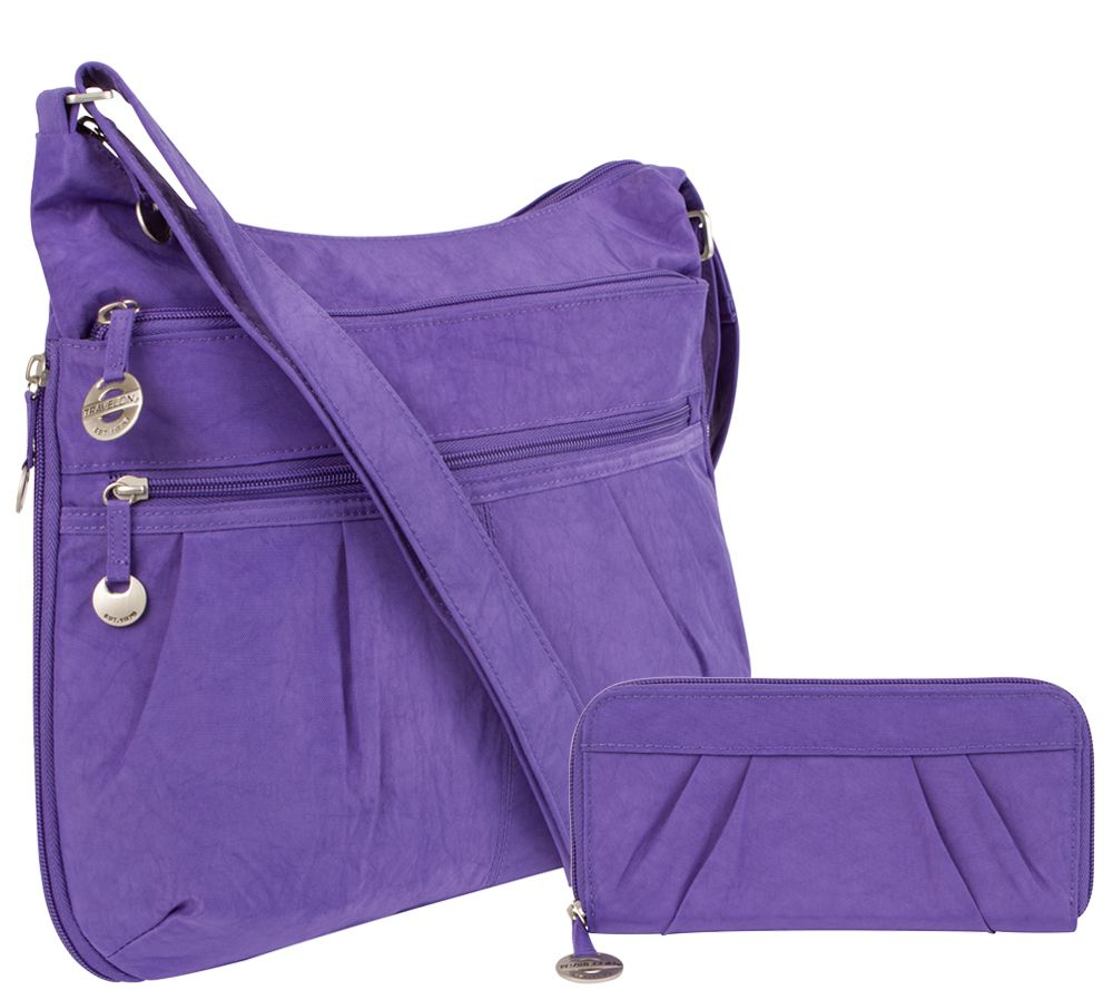 Travelon Crinkle Shoulder Bag With Rfid Blocking Wallet Page 1 Qvc