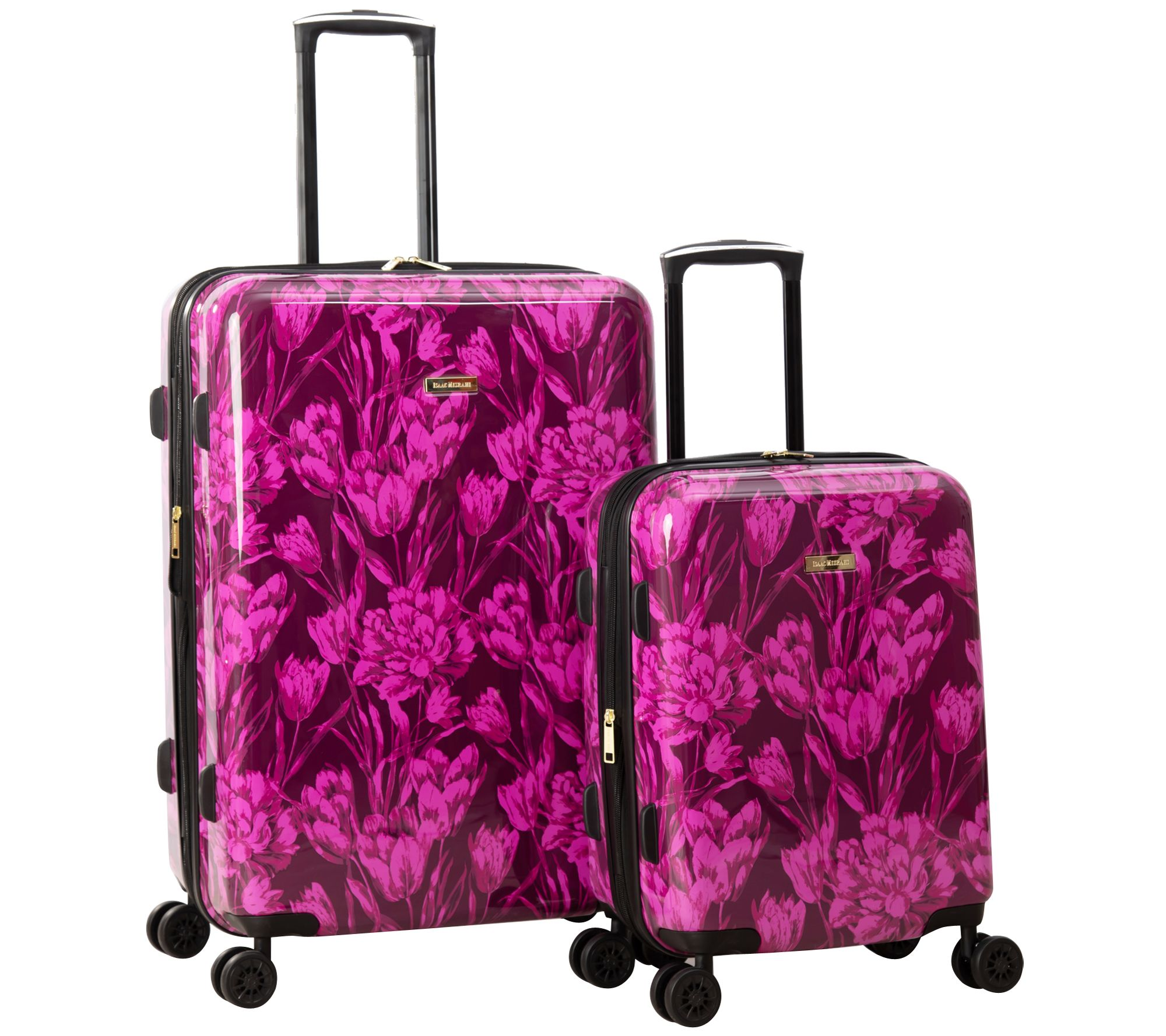 Pink Floral, 4-Piece Spinner Luggage Set Isaac Mizrahi Irwin 2 4-Wheel Spinner Luggage