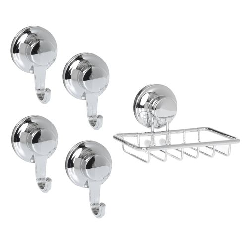 Everloc set de 4 crochets 1 porte savon avec ventouses for Set porte savon