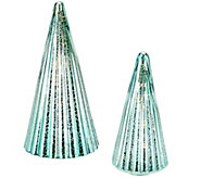As Is Dennis Basso Set of 2 Lit Mercury Glass Trees - H208400