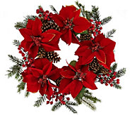 22 Glitter Velvet Poinsettia and Pinecone Wreath - H209700