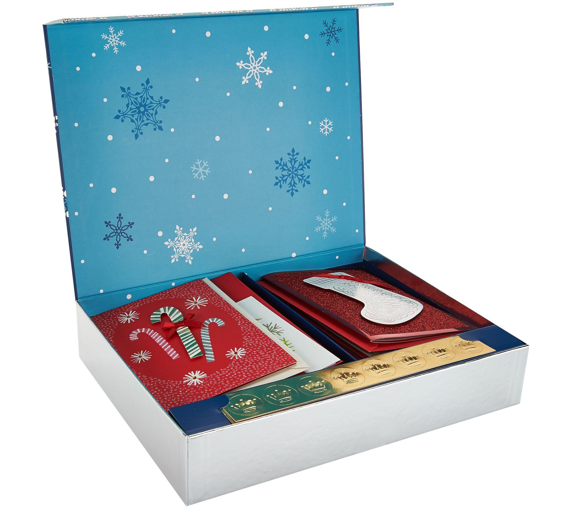 Hallmark 24ct Handcrafted Embellished Boxed Card Set W Storage Box