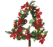 Casa Zeta-Jones Indoor/Outdoor Lit Poinsettia Wreath with Timer - H216300