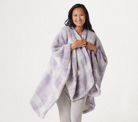 Berkshire Blanket Buffalo Plaid Double Sided Sherpa Cape