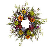 24 Spring Garden Wreath w/Twig Base by NearlyNatural - H295600