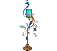 HomeReflections Indoor/Outdoor Peacock Flameless Candle Holder - H213601