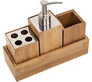 Honey Can Do Bamboo 4-Piece Dispenser Set - H293301