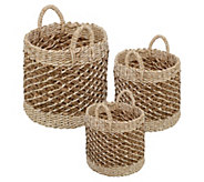 Honey-Can-Do Coastal Collection Set of 3 Natural Storage Bins - H295901