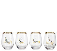 Celebrations by Mikasa Holiday Stemless Wine Glasses- Set of 4 - H306301