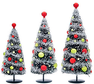 Set of 3 Bottlebrush Trees with Ornamentsby