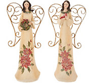 Set of 2 11 Angels with Embossed Holly & Poinsettias by Valerie - H209802