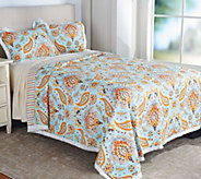 100Cotton Reversible Twin Quilt with Fringe and Sham - H211202