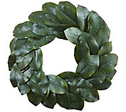 24 Magnolia Leaf Wreath by Nearly Natural - H295602