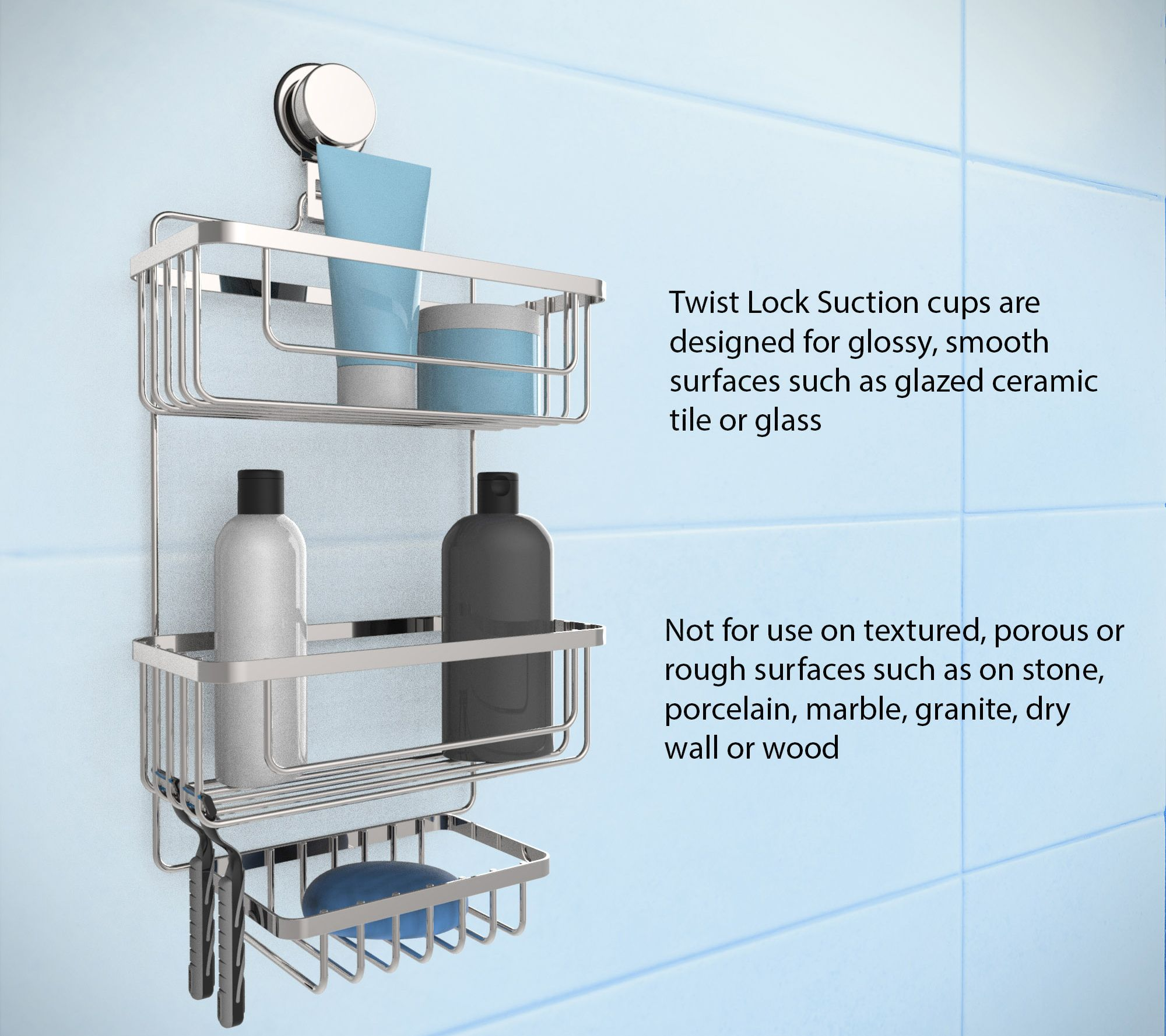 Lavish Home Wall Mounted 3-Tier Shower Caddy — QVC.com