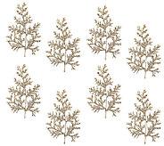 Set of 8 Glittered Leaf and Cedar Picks - H206603