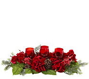 Triple Hydrangea Red Candelabrum by Nearly Natural - H301003