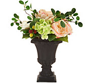 As Is 17 Spring Raspberry Rose and Magnolia Urn Arrangement - H216204