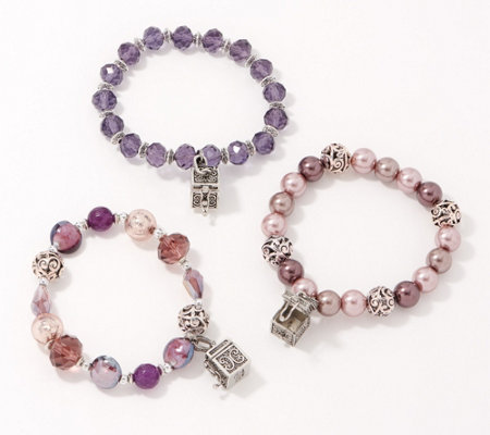 Set of 3 Prayer Box Bracelets with Sheer Bags by Valerie