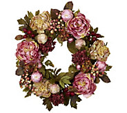 24 Peony Hydrangea Wreath by Nearly Natural - H295604