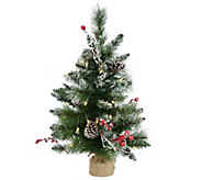 2 Snow Tipped Pine and Berry Tree by Vickerman - H301504