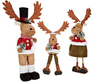 Set of 3 Sisal Moose Family Posable Figures by Valerie - H215305