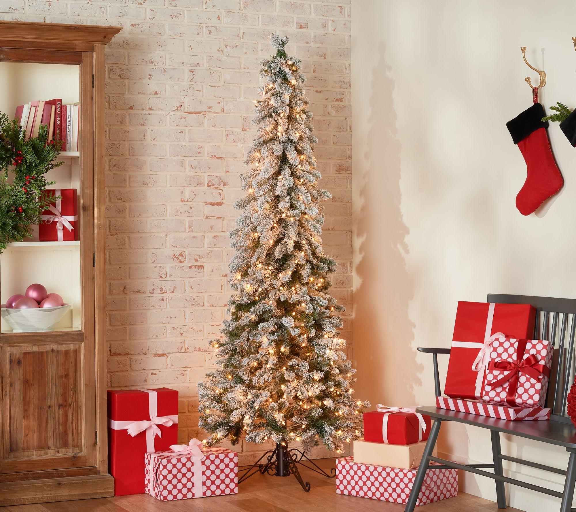 Bethlehem Lights 7' Slim Flocked Downswept Decorator Tree ...