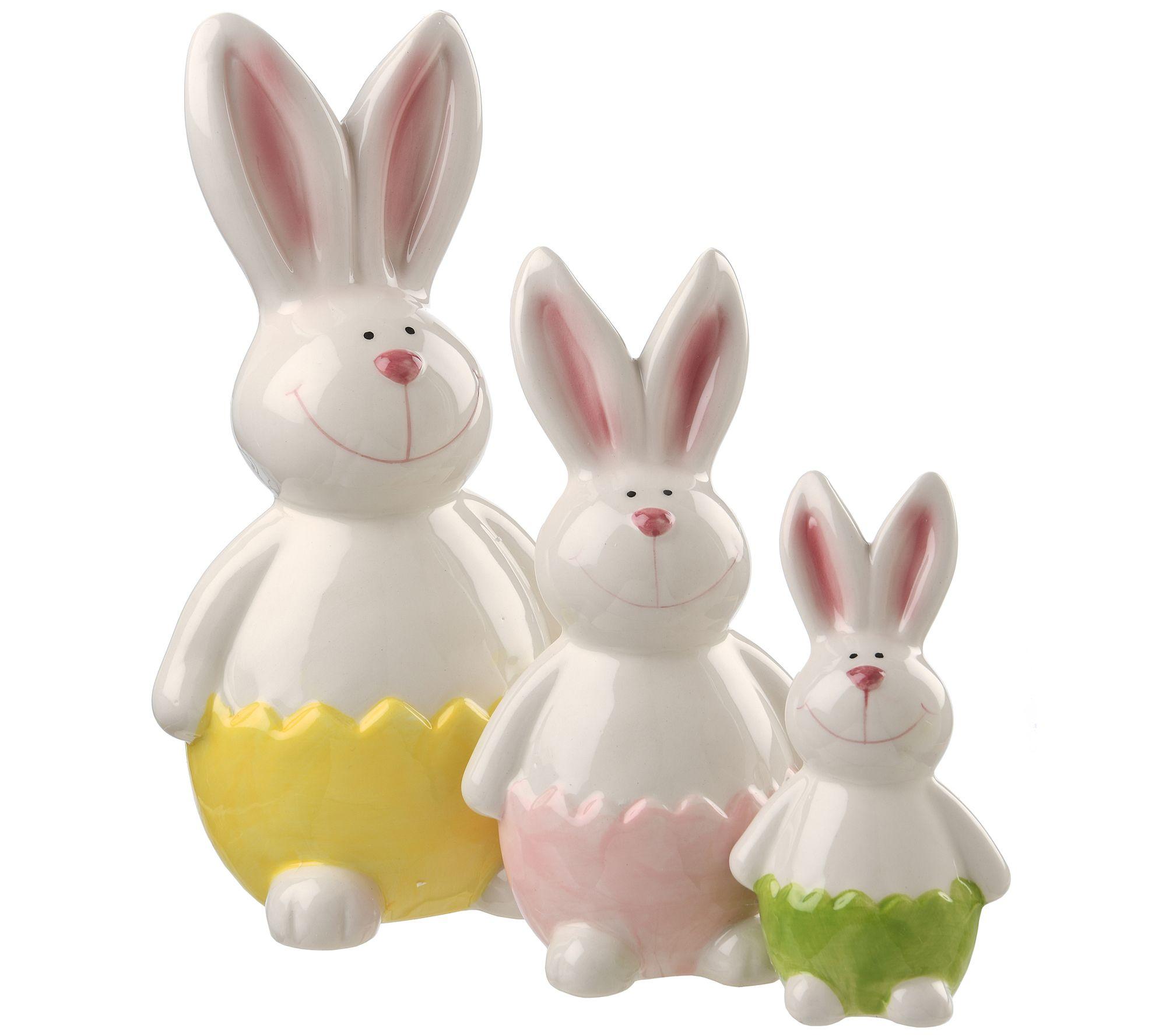 Easter 3 Piece Set Ceramic Decorative Easter Bunny Bunnies Rabbit Figurines Spring Medalex Rs