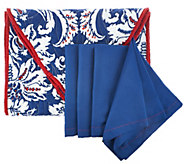 Dennis Basso 5pc Water Mill 70 Table Runner & Cloth Napkin Set - H204906