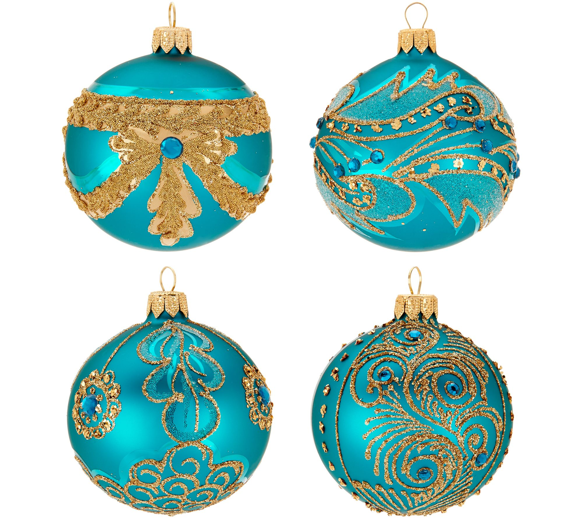 Hallmark Heritage S/4 Blown Glass Ornaments with Glitter Accents ...